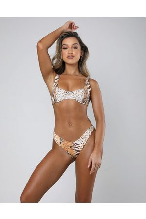 Kulani Kinis Zuri - Slip bikini sgambato a V con stampa animalier multi