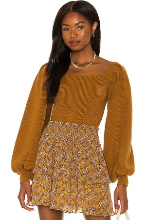 Minkpink Vayu Long Sleeve Knit Top in - Mustard. Size L (also in M, S, XS).