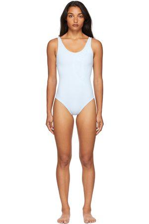 Burberry Donna Costumi interi - Blue Bio-Based Logo One-Piece Swimsuit