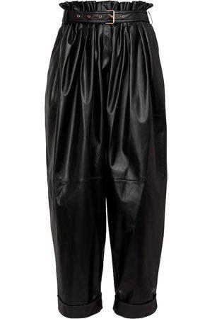 Balmain Pantaloni paperbag in pelle