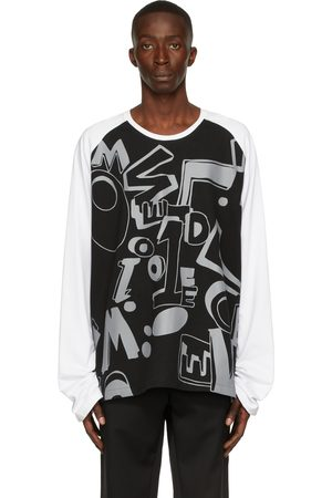 We11 Done Uomo Top - & White Spread Logo Long Sleeve T-Shirt