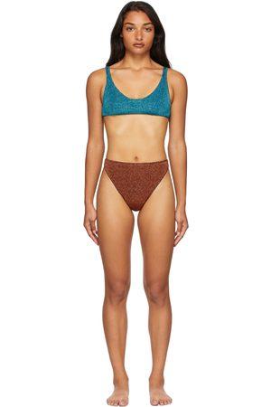 Oseree Donna Bikini - SSENSE Exclusive Blue & Brown Lumière 90s Sporty Bikini