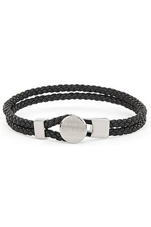 HUGO BOSS Uomo Gioielli - Double-braided leather cuff with logo-etched hardware