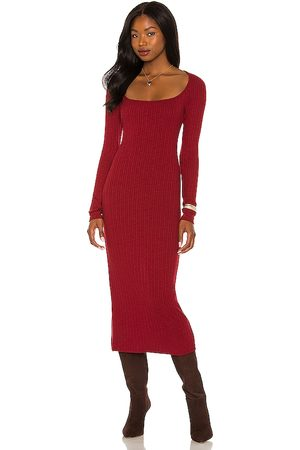 House of Harlow X REVOLVE Rianne Dress in - Burgundy. Size L (also in S, XXS, XS, M).