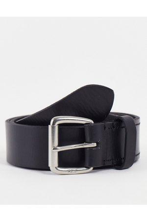 Polo Ralph Lauren Cintura in pelle nera con logo laminato argento