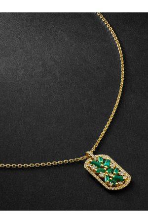 Suzanne Kalan Emerald and Diamond Pendant Necklace