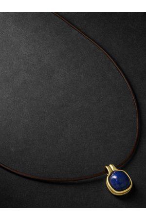 Fernando Jorge Cushion 18-Karat , Leather and Lapis Lazuli Necklace