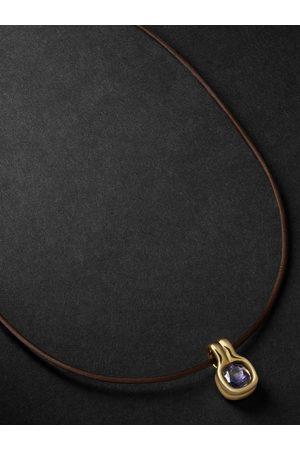 Fernando Jorge Cushion 18-Karat , Leather and Iolite Necklace