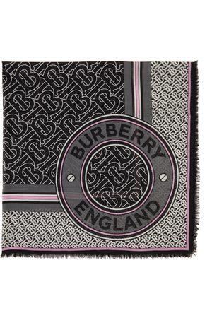 Burberry Silk & Wool Gauze Monogram Square Scarf