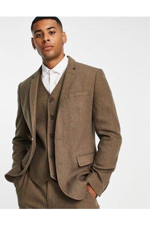 ASOS Wedding - Giacca da abio super skinny in misto lana cammello a spina di pesce-Neutro