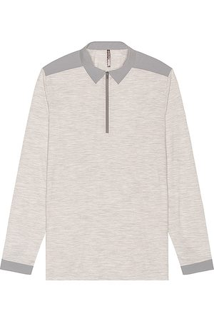 Veilance Frame Long Sleeve Polo in - Light Grey. Size L (also in XL).