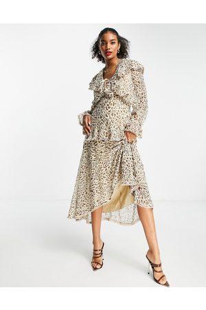 ASOS Donna Vestiti da sera - Vestito midi con scollo profondo e volant leopardato con finiture in pizzo