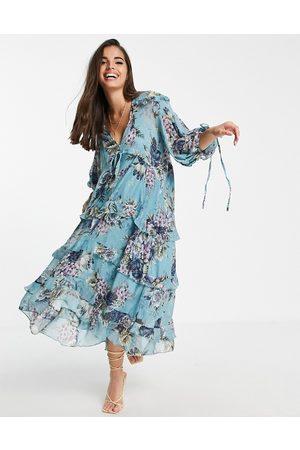 ASOS Vestito grembiule midi a balze con stampa a fiori e laccetti-Neutro
