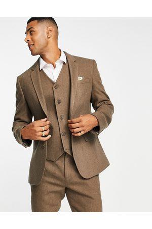 ASOS Giacca cammello skinny da abito da matrimonio in misto lana chevron-Neutro