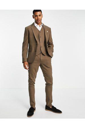 ASOS Uomo Abiti eleganti - Wedding - Pantaloni da abito skinny in misto lana a spina di pesce color cammello-Neutro