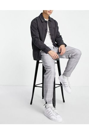 Topman Uomo Cinture - Pantaloni comodi grigi a quadri con cintura