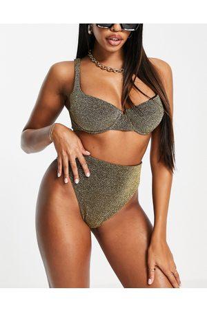 ASOS Coppe Grandi - Top bikini con ferretto e dettaglio anteriore oro glitter coppe DD-G