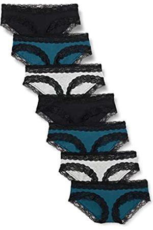 IRIS & LILLY Marchio Amazon - Slip a Vita Bassa in Cotone Donna, Pacco da 7, Multicolore , S, Label: S