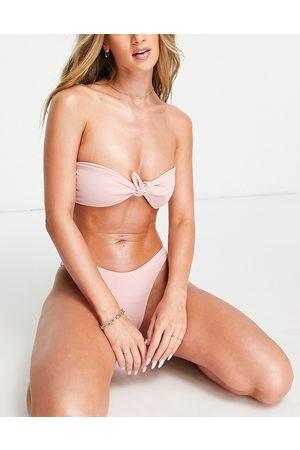 Fashion Union Esclusiva - Top bikini a fascia arricciato con nodo sul davanti