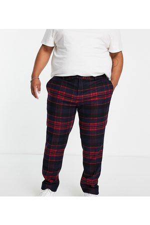 Twisted Tailor Plus - Pantaloni eleganti rossi e blu navy a quadri