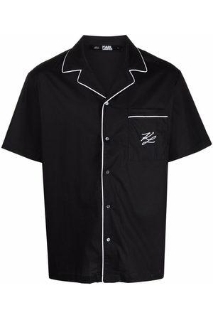 Karl Lagerfeld Uomo Pigiami - Camicia da notte con ricamo