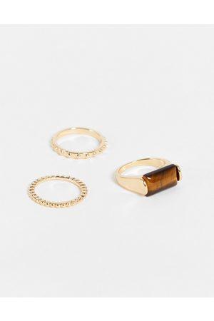 DesignB London DesignB - Confezione da 3 anelli a fascia e con occhio di tigre color
