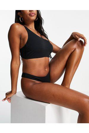 Ivory Rose Coppe Grandi - Top bikini mix and match monospalla nero arricciato coppa DD G