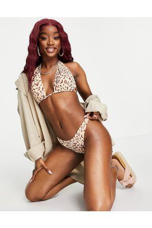 Cotton On Cotton On - Slip bikini stile brasiliana raccolto sul retro leopardato in coordinato