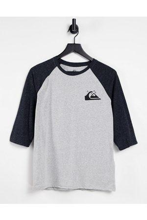 Quiksilver Standard - T-shirt grigia con maniche raglan