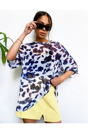 House of Holland T-shirt in tulle con stampa animalier astratta e fascia