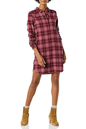 Goodthreads Brushed Flannel Popover Dress Vestito, Plaid Scozzese Brugundy, L