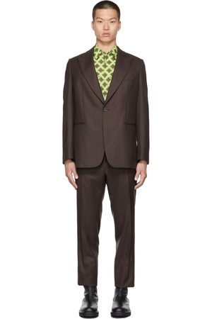 DRIES VAN NOTEN Uomo Abiti eleganti - Brown Wool Pinstripe Suit