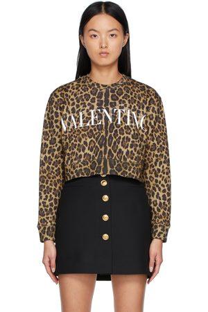 VALENTINO Donna Felpe - Beige & Black Leopard Logo Sweatshirt