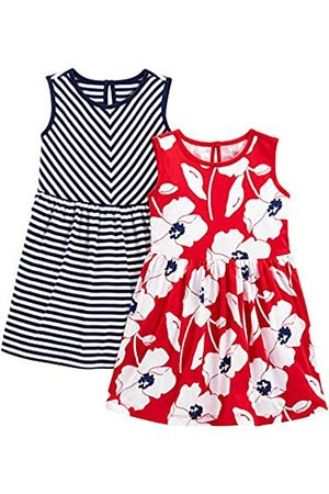 Simple Joys by Carter's 2-Pack Sleeveless Dress Abito Casual, Strisce/Floreale, 5 Anni, Pacco da 2