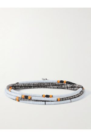 M. COHEN Uomo Bracciali - Silver and Vinyl Beaded Wrap Bracelet