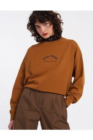 Fred Perry Donna Felpe - Felpa color cammello con logo arcuato-Neutro