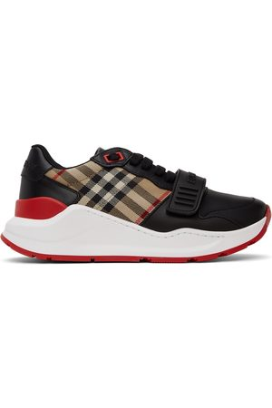 Burberry Donna Sneakers - Black Leather Vintage Check Sneakers