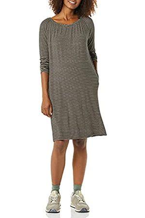 Amazon Essentials Abito Premaman con Scollatura Dresses, Striscia fine Mandorla Nera, XS