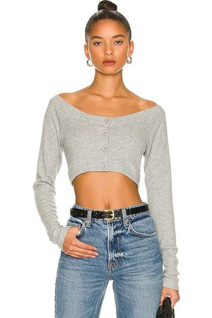LnA Moon Brushed Rib Crop Cardigan in - Grey. Size L (also in M, S, XS).