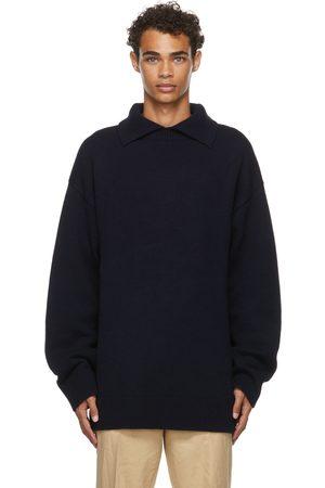 Jil Sander Navy Split High-Neck Sweater Polo