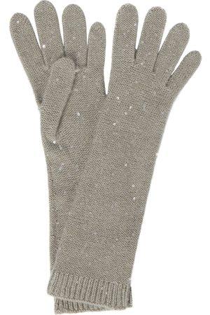 Brunello Cucinelli Guanti in cashmere e seta con paillettes