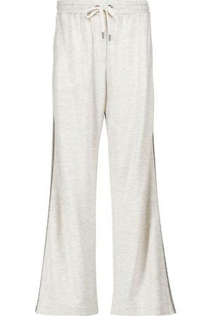 Brunello Cucinelli Pantaloni sportivi in cotone e seta