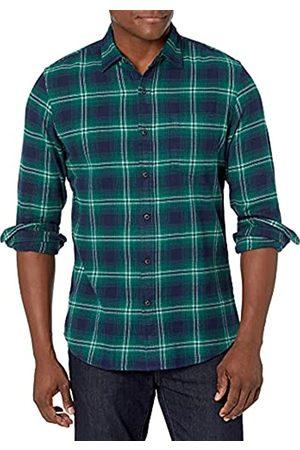 Amazon Uomo Casual - Camicia in flanella a maniche lunghe, a quadri, da uomo, Slim Fit, Navy/Green Ombre, US XL