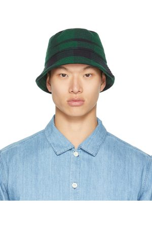 YMC Uomo Cappelli - Black & Green Check Bucket Hat