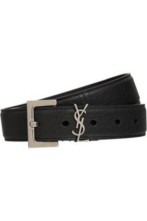 Saint Laurent Cintura In Pelle Morbida Con Logo 3cm
