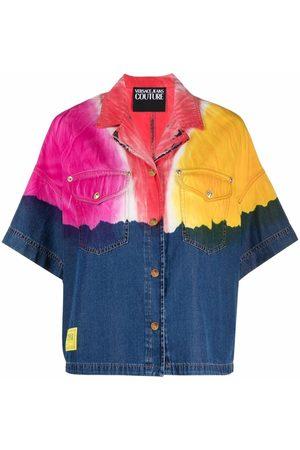 VERSACE Camicia denim con design color-block
