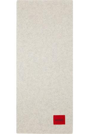HUGO BOSS Uomo Sciarpe - Grey Wool Ribbed Scarf