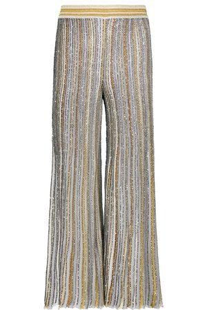 Missoni Pantaloni cropped in maglia lamé a vita alta
