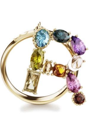 """Dolce & Gabbana """"Anello con lettera R in 18kt, ametista, citrino, essonite, peridoto, quarzo, topazio e tormalina"""""""