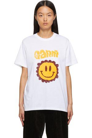GANNI Donna T-shirt a maniche corte - White Jersey Logo T-Shirt